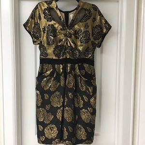 3.1 Philip Lim Gold Brocade Rose Dress